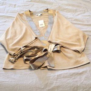 Banana Republic Gold Silk Kimono Sweater